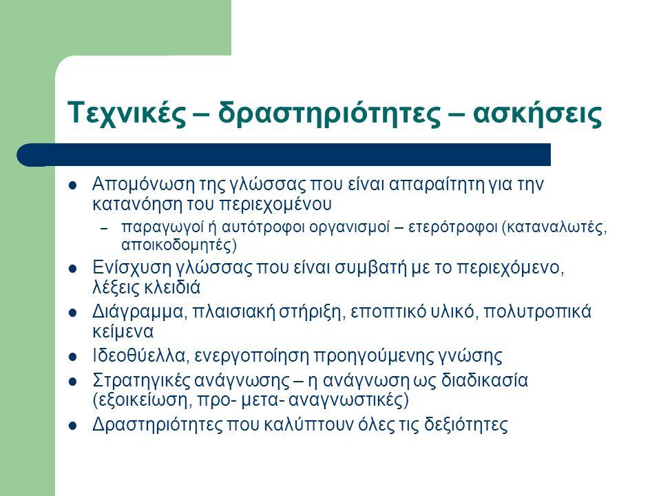 Τεχνικές – δραστηριότητες – ασκήσεις Απομόνωση της γλώσσας που είναι απαραίτητη για την κατανόηση του περιεχομένου – παραγωγοί ή αυτότροφοι οργανισμοί