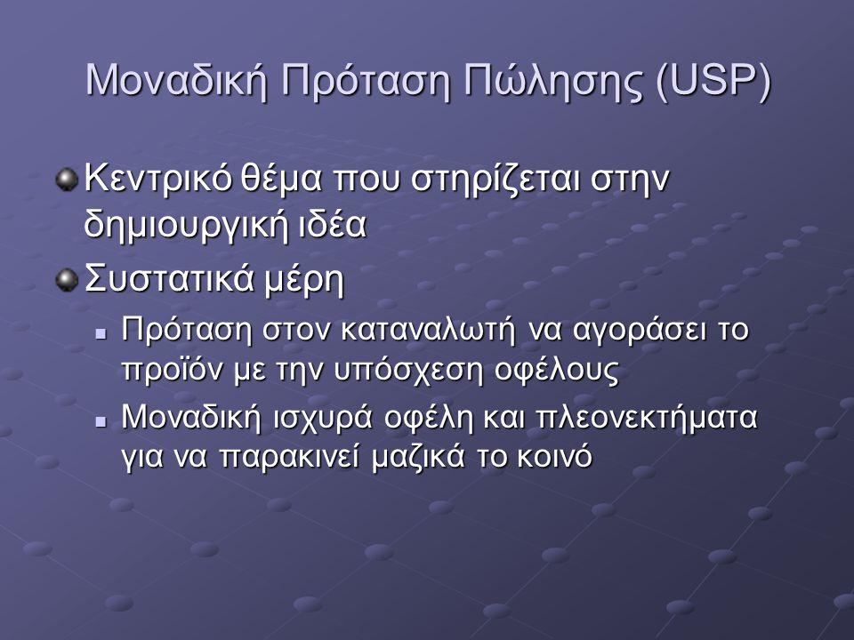Μοναδική Πρόταση Πώλησης (USP) Κεντρικό θέμα που στηρίζεται στην δημιουργική ιδέα Συστατικά μέρη Πρόταση στον καταναλωτή να αγοράσει το προϊόν με την