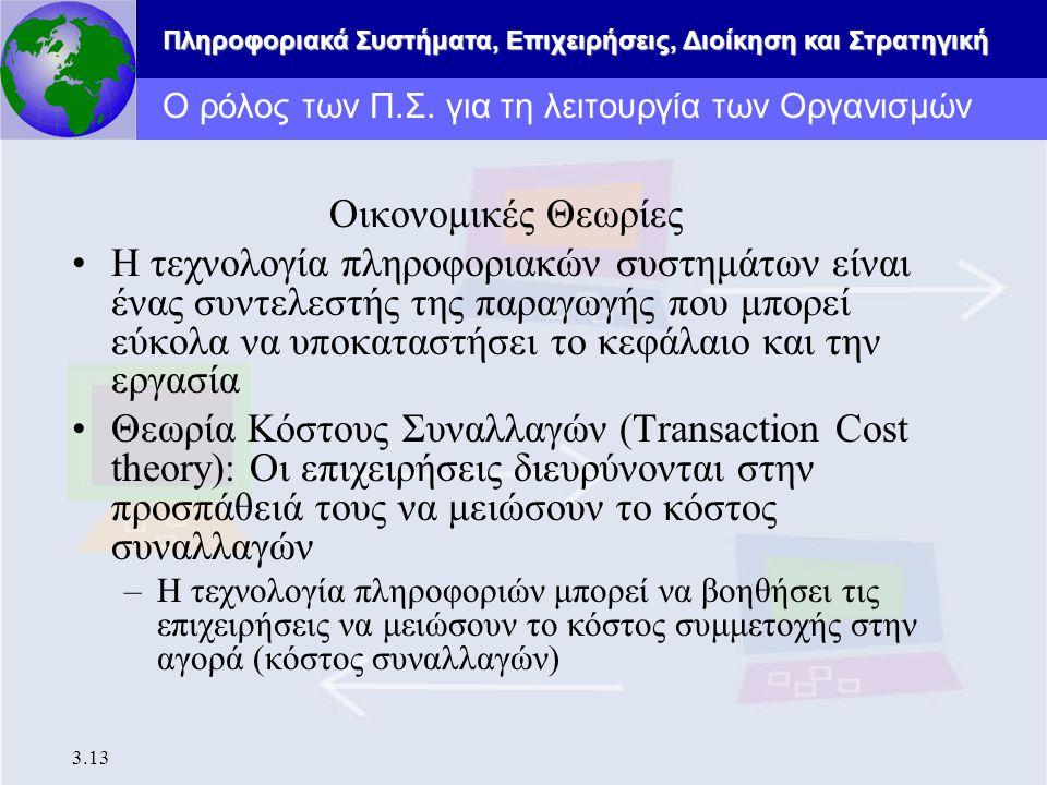 Πληροφοριακά Συστήματα, Επιχειρήσεις, Διοίκηση και Στρατηγική 3.13 Ο ρόλος των Π.Σ. για τη λειτουργία των Οργανισμών Οικονομικές Θεωρίες Η τεχνολογία