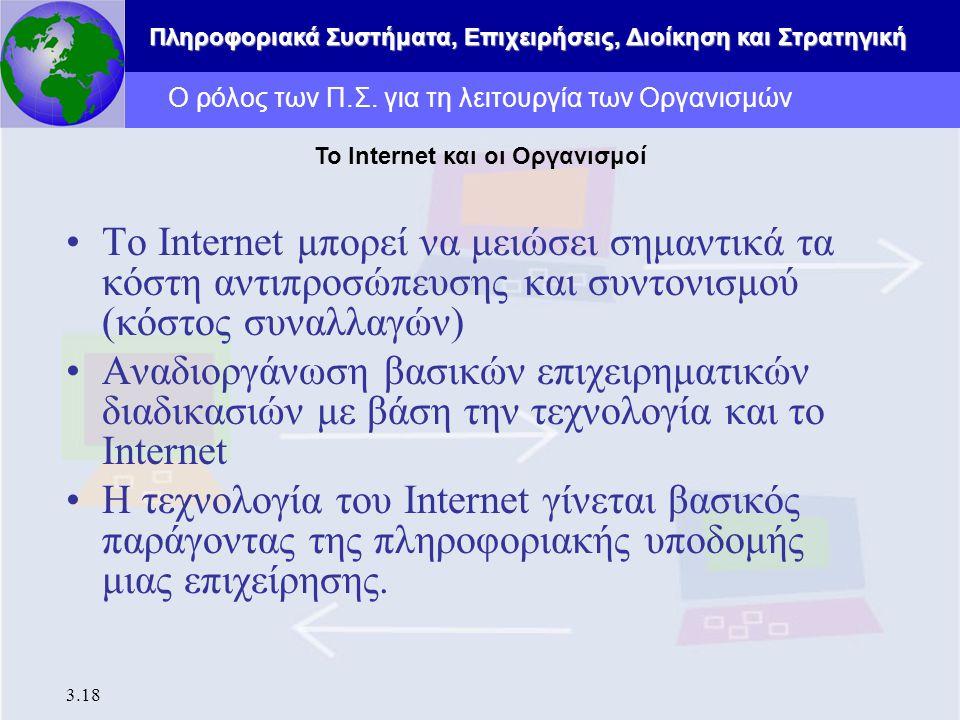 Πληροφοριακά Συστήματα, Επιχειρήσεις, Διοίκηση και Στρατηγική 3.18 Το Internet μπορεί να μειώσει σημαντικά τα κόστη αντιπροσώπευσης και συντονισμού (κ