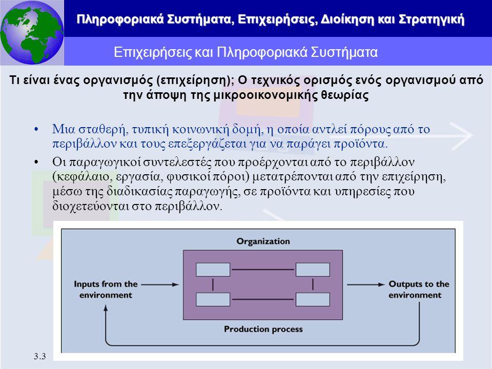 Πληροφοριακά Συστήματα, Επιχειρήσεις, Διοίκηση και Στρατηγική 3.3 Επιχειρήσεις και Πληροφοριακά Συστήματα Μια σταθερή, τυπική κοινωνική δομή, η οποία