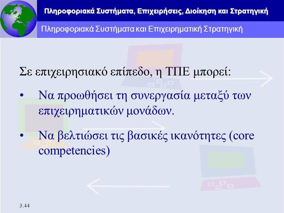Πληροφοριακά Συστήματα, Επιχειρήσεις, Διοίκηση και Στρατηγική 3.44 Σε επιχειρησιακό επίπεδο, η ΤΠΕ μπορεί: Να προωθήσει τη συνεργασία μεταξύ των επιχε
