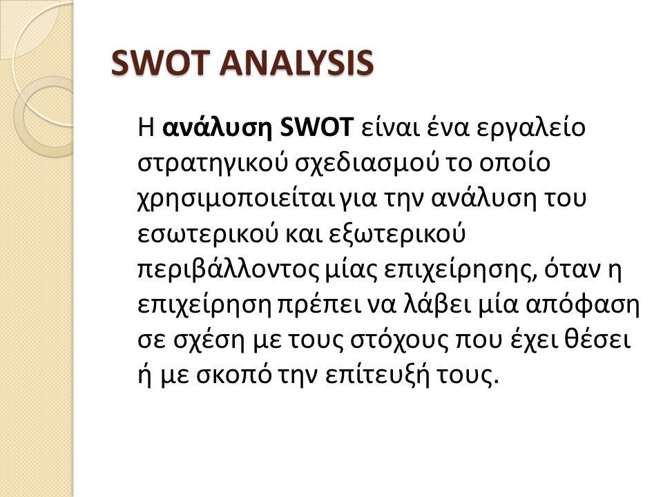 SWOT ANALYSIS Η ανάλυση SWOT είναι ένα εργαλείο στρατηγικού σχεδιασμού το οποίο χρησιμοποιείται για την ανάλυση του εσωτερικού και εξωτερικού περιβάλλ