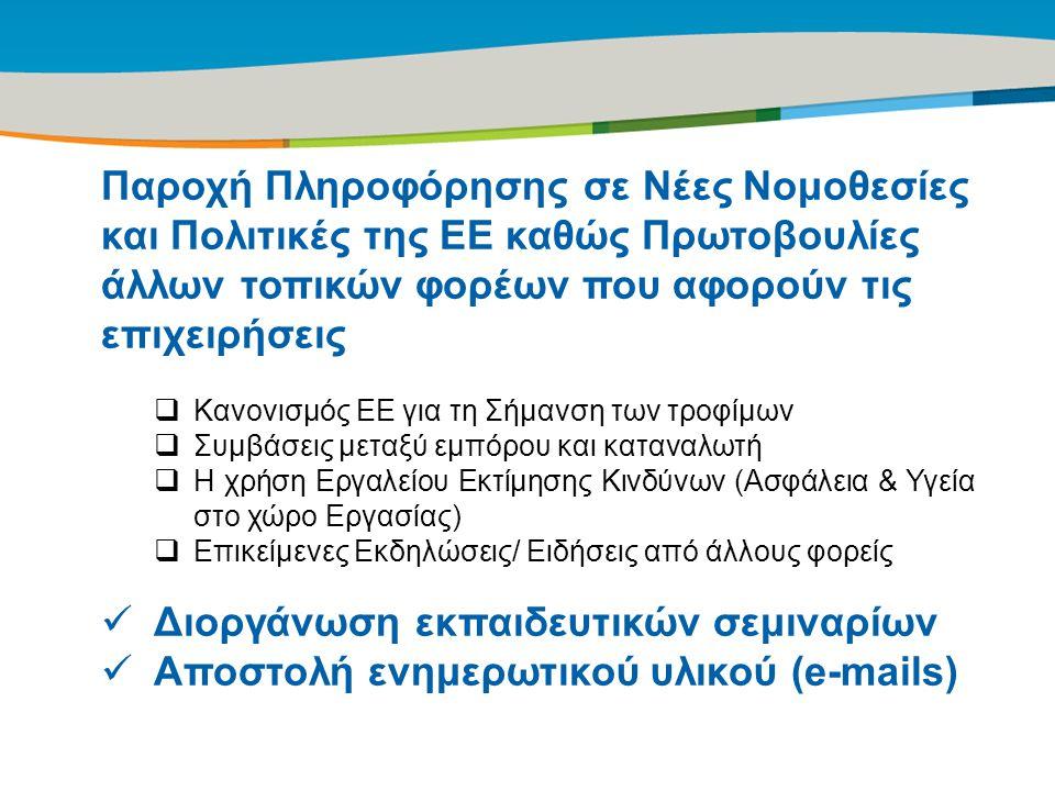Title of the presentation | Date |‹#› Παροχή Πληροφόρησης σε Νέες Νομοθεσίες και Πολιτικές της ΕΕ καθώς Πρωτοβουλίες άλλων τοπικών φορέων που αφορούν τις επιχειρήσεις  Κανονισμός ΕΕ για τη Σήμανση των τροφίμων  Συμβάσεις μεταξύ εμπόρου και καταναλωτή  Η χρήση Εργαλείου Εκτίμησης Κινδύνων (Ασφάλεια & Υγεία στο χώρο Εργασίας)  Επικείμενες Εκδηλώσεις/ Ειδήσεις από άλλους φορείς Διοργάνωση εκπαιδευτικών σεμιναρίων Αποστολή ενημερωτικού υλικού (e-mails)