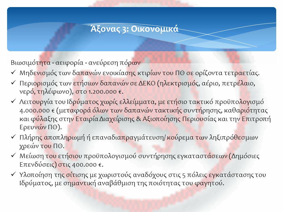 9 Άξονας 4: Υποδομές Ενίσχυση και αξιοποίηση πόρων και περιουσίας του Πανεπιστημίου Θεσσαλίας Αξιοποίηση των κονδυλίων του ΕΣΠΑ 2007-2013 για την ολοκλήρωση του νέου κτιρίου Ηλεκτρολόγων Μηχανικών & Μηχανικών Η/Υ, του νέου κτιρίου Τμήματος Οικονομικών Επιστημών (ανακαίνιση Ματσάγγου) και της Πτέρυγας ΙΙΙ στο Μεζούρλο (Τμήμα Βιοχημείας/ Βιοτεχνολογίας).