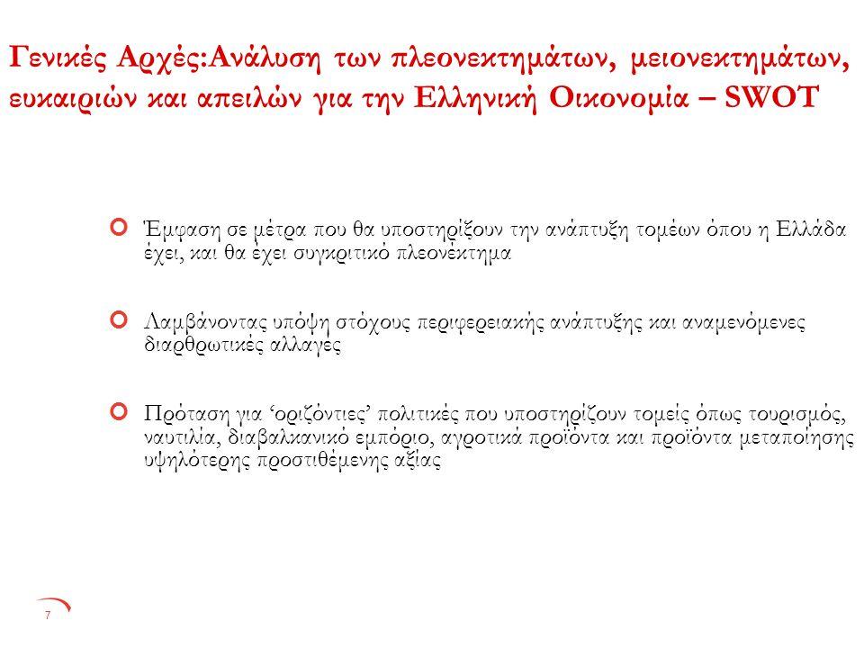 7 Γενικές Αρχές:Ανάλυση των πλεονεκτημάτων, μειονεκτημάτων, ευκαιριών και απειλών για την Ελληνική Οικονομία – SWOT Έμφαση σε μέτρα που θα υποστηρίξουν την ανάπτυξη τομέων όπου η Ελλάδα έχει, και θα έχει συγκριτικό πλεονέκτημα Λαμβάνοντας υπόψη στόχους περιφερειακής ανάπτυξης και αναμενόμενες διαρθρωτικές αλλαγές Πρόταση για 'οριζόντιες' πολιτικές που υποστηρίζουν τομείς όπως τουρισμός, ναυτιλία, διαβαλκανικό εμπόριο, αγροτικά προϊόντα και προϊόντα μεταποίησης υψηλότερης προστιθέμενης αξίας