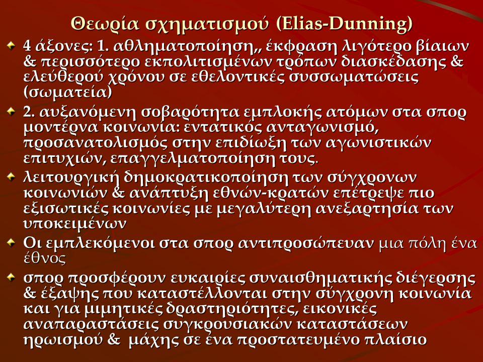Θεωρία σχηματισμού (Elias-Dunning) 4 άξονες: 1. αθληματοποίηση,, έκφραση λιγότερο βίαιων & περισσότερο εκπολιτισμένων τρόπων διασκέδασης & ελεύθερού χ