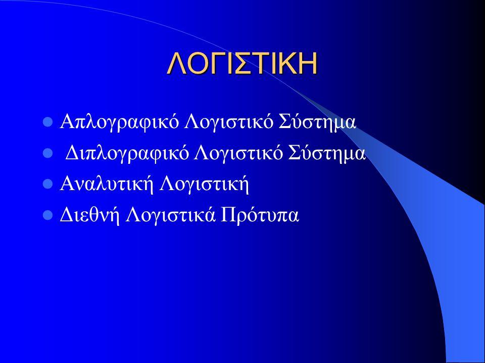 ΛΟΓΙΣΤΙΚΗ Απλογραφικό Λογιστικό Σύστημα Διπλογραφικό Λογιστικό Σύστημα Αναλυτική Λογιστική Διεθνή Λογιστικά Πρότυπα