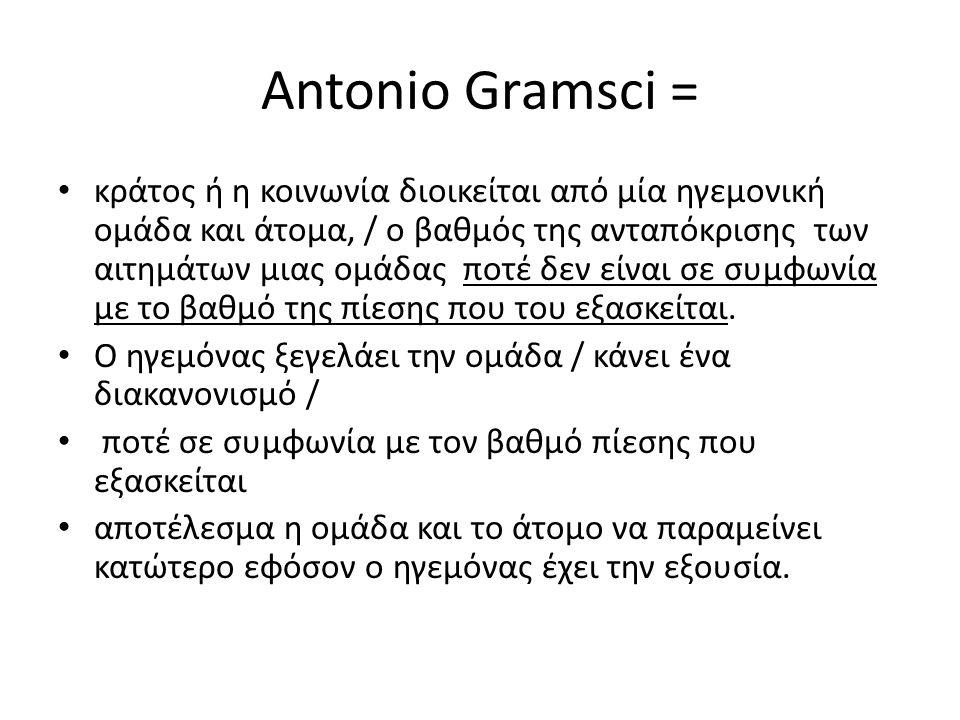 Antonio Gramsci = κράτος ή η κοινωνία διοικείται από μία ηγεμονική ομάδα και άτομα, / ο βαθμός της ανταπόκρισης των αιτημάτων μιας ομάδας ποτέ δεν είναι σε συμφωνία με το βαθμό της πίεσης που του εξασκείται.