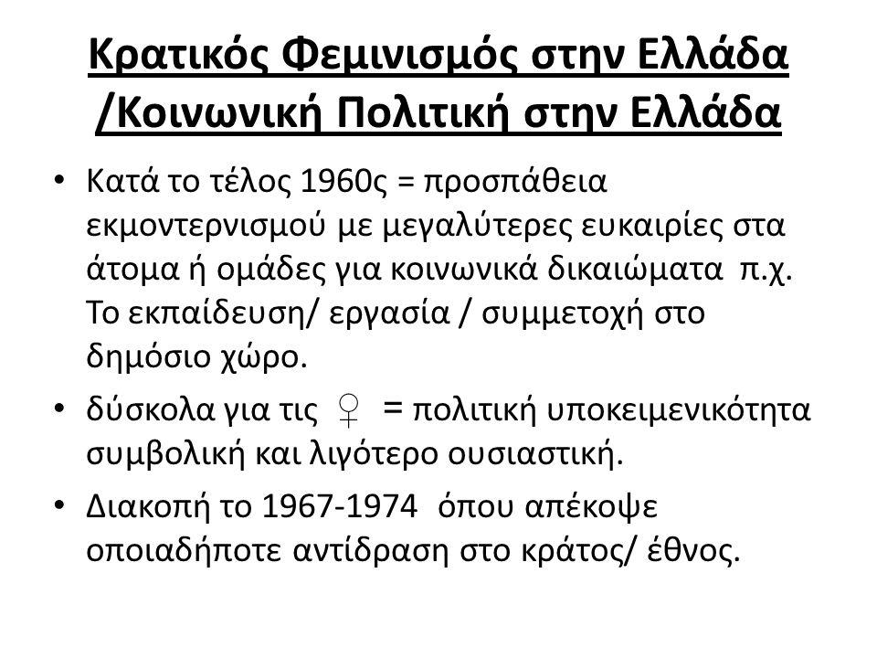 Κρατικός Φεμινισμός στην Ελλάδα /Κοινωνική Πολιτική στην Ελλάδα Κατά το τέλος 1960ς = προσπάθεια εκμοντερνισμού με μεγαλύτερες ευκαιρίες στα άτομα ή ομάδες για κοινωνικά δικαιώματα π.χ.