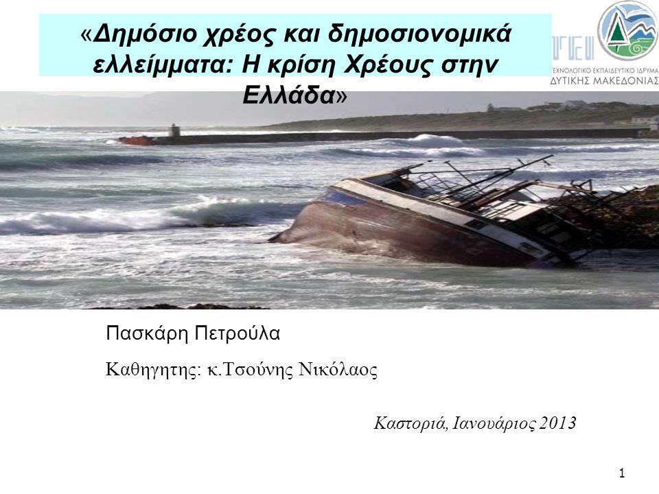1 Πασκάρη Πετρούλα Καθηγητης: κ.Τσούνης Νικόλαος Καστοριά, Ιανουάριος 2013 «Δημόσιο χρέος και δημοσιονομικά ελλείμματα: Η κρίση Χρέους στην Ελλάδα»