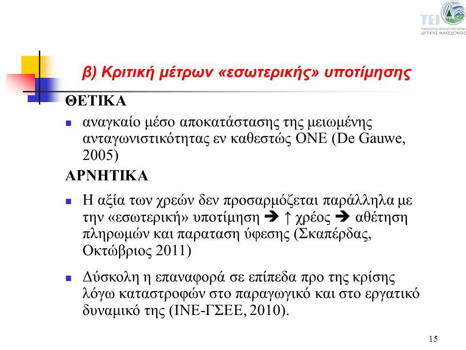 15 ΘΕΤΙΚΑ αναγκαίο μέσο αποκατάστασης της μειωμένης ανταγωνιστικότητας εν καθεστώς ΟΝΕ (De Gauwe, 2005) ΑΡΝΗΤΙΚΑ Η αξία των χρεών δεν προσαρμόζεται πα