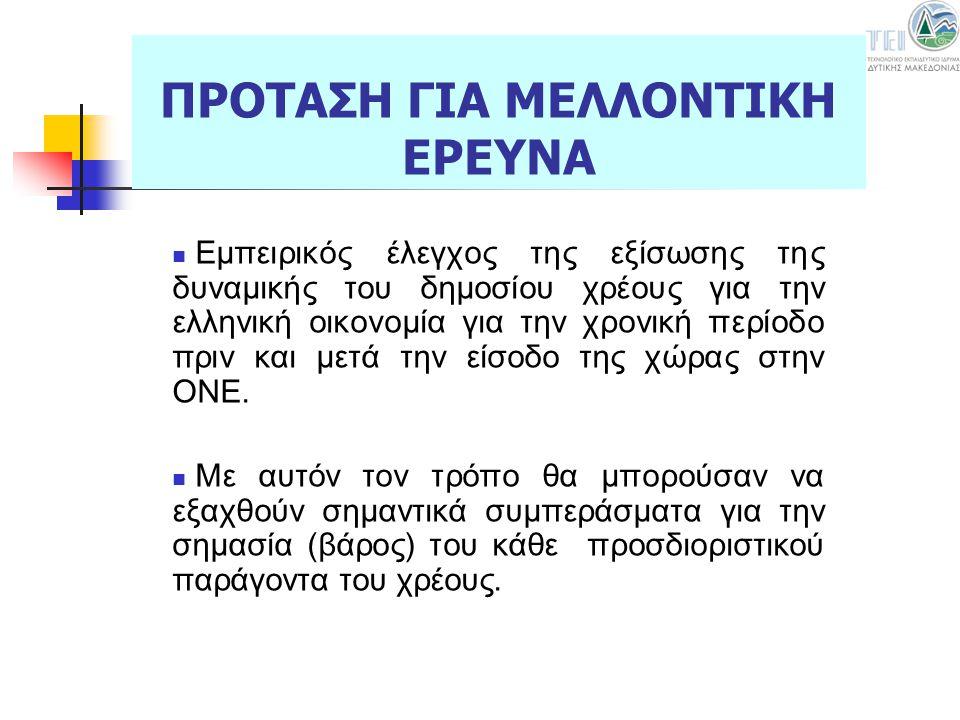 Εμπειρικός έλεγχος της εξίσωσης της δυναμικής του δημοσίου χρέους για την ελληνική οικονομία για την χρονική περίοδο πριν και μετά την είσοδο της χώρα