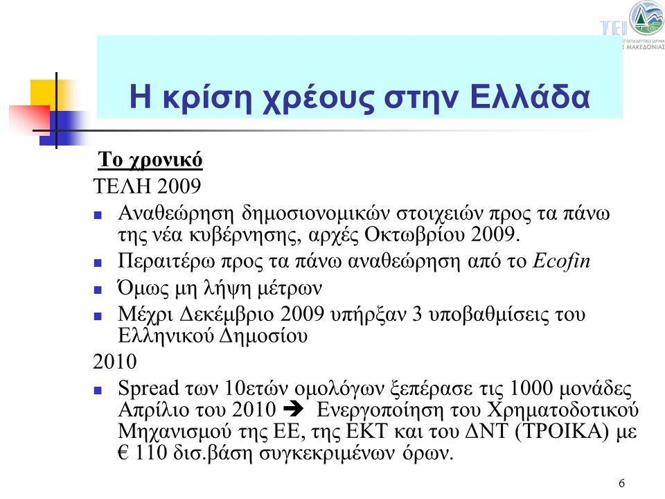6 Το χρονικό ΤΕΛΗ 2009 Αναθεώρηση δημοσιονομικών στοιχειών προς τα πάνω της νέα κυβέρνησης, αρχές Οκτωβρίου 2009. Περαιτέρω προς τα πάνω αναθεώρηση απ