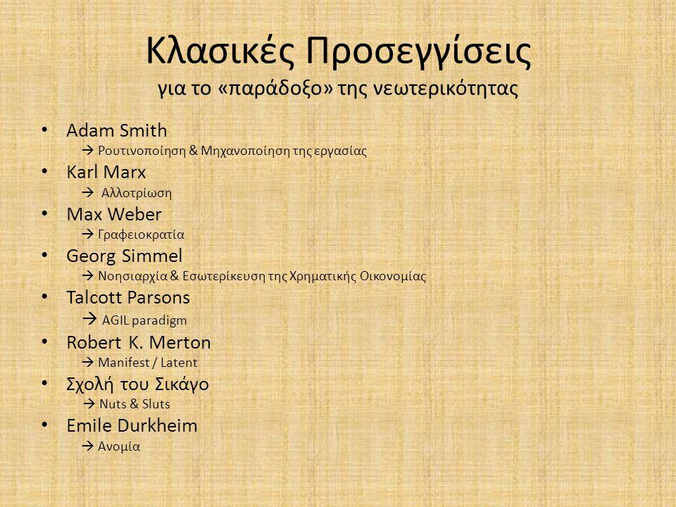 Κλασικές Προσεγγίσεις για το «παράδοξο» της νεωτερικότητας Adam Smith  Ρουτινοποίηση & Μηχανοποίηση της εργασίας Karl Marx  Αλλοτρίωση Max Weber  Γ