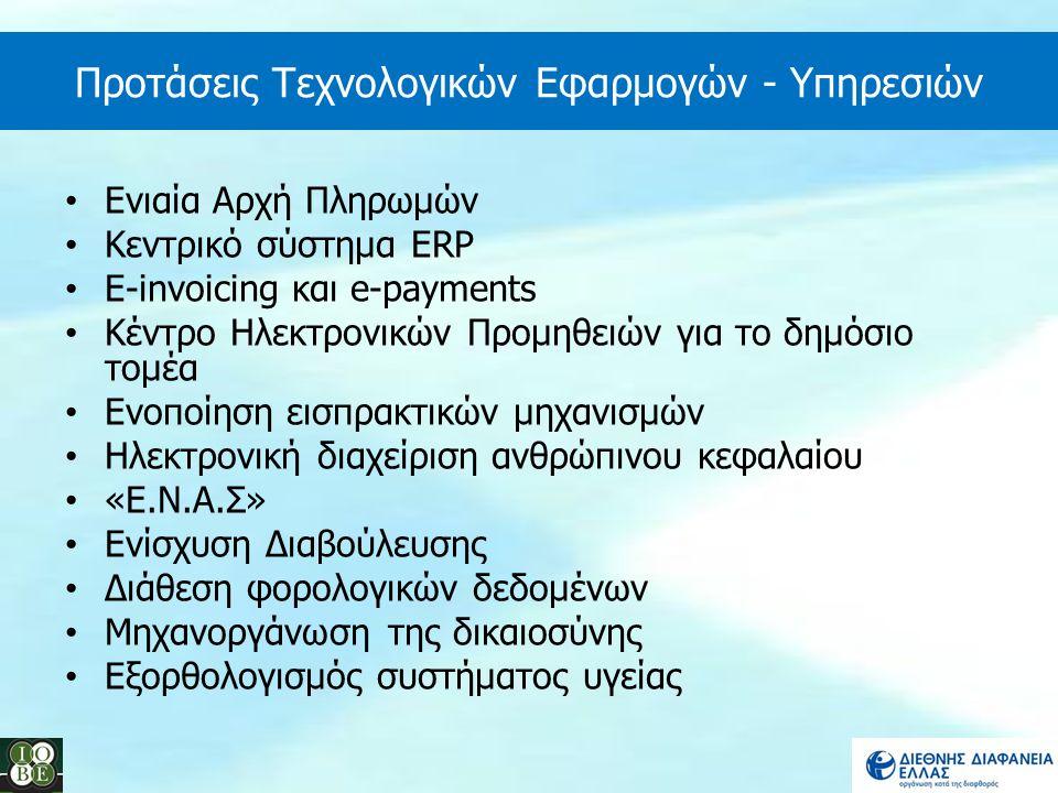 Προτάσεις Τεχνολογικών Εφαρμογών - Υπηρεσιών Ενιαία Αρχή Πληρωμών Κεντρικό σύστημα ERP E-invoicing και e-payments Κέντρο Ηλεκτρονικών Προμηθειών για τ