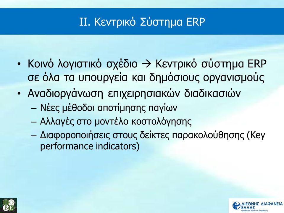 ΙΙ. Κεντρικό Σύστημα ERP Κοινό λογιστικό σχέδιο  Κεντρικό σύστημα ERP σε όλα τα υπουργεία και δημόσιους οργανισμούς Αναδιοργάνωση επιχειρησιακών διαδ