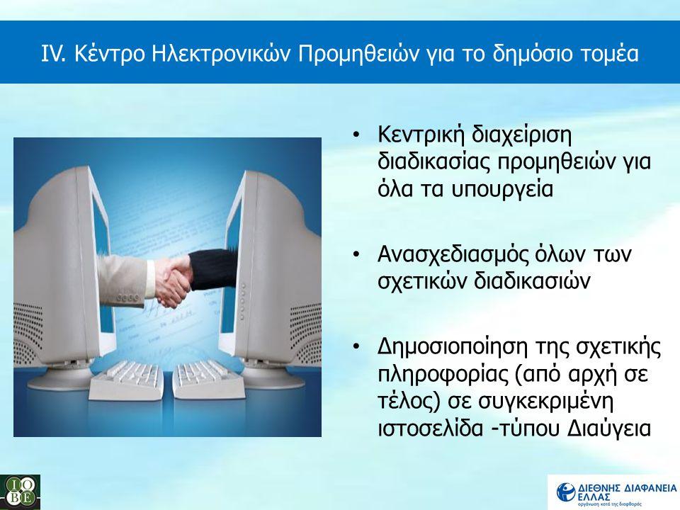 Κεντρική διαχείριση διαδικασίας προμηθειών για όλα τα υπουργεία Ανασχεδιασμός όλων των σχετικών διαδικασιών Δημοσιοποίηση της σχετικής πληροφορίας (απ