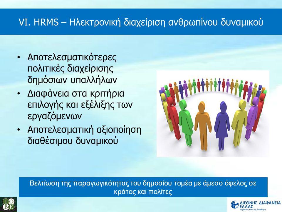 VI. HRMS – Ηλεκτρονική διαχείριση ανθρωπίνου δυναμικού Αποτελεσματικότερες πολιτικές διαχείρισης δημόσιων υπαλλήλων Διαφάνεια στα κριτήρια επιλογής κα
