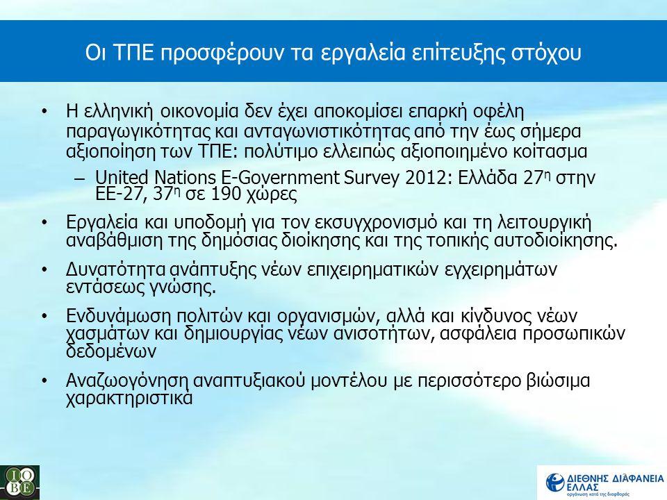 Οι ΤΠΕ προσφέρουν τα εργαλεία επίτευξης στόχου Η ελληνική οικονομία δεν έχει αποκομίσει επαρκή οφέλη παραγωγικότητας και ανταγωνιστικότητας από την έω