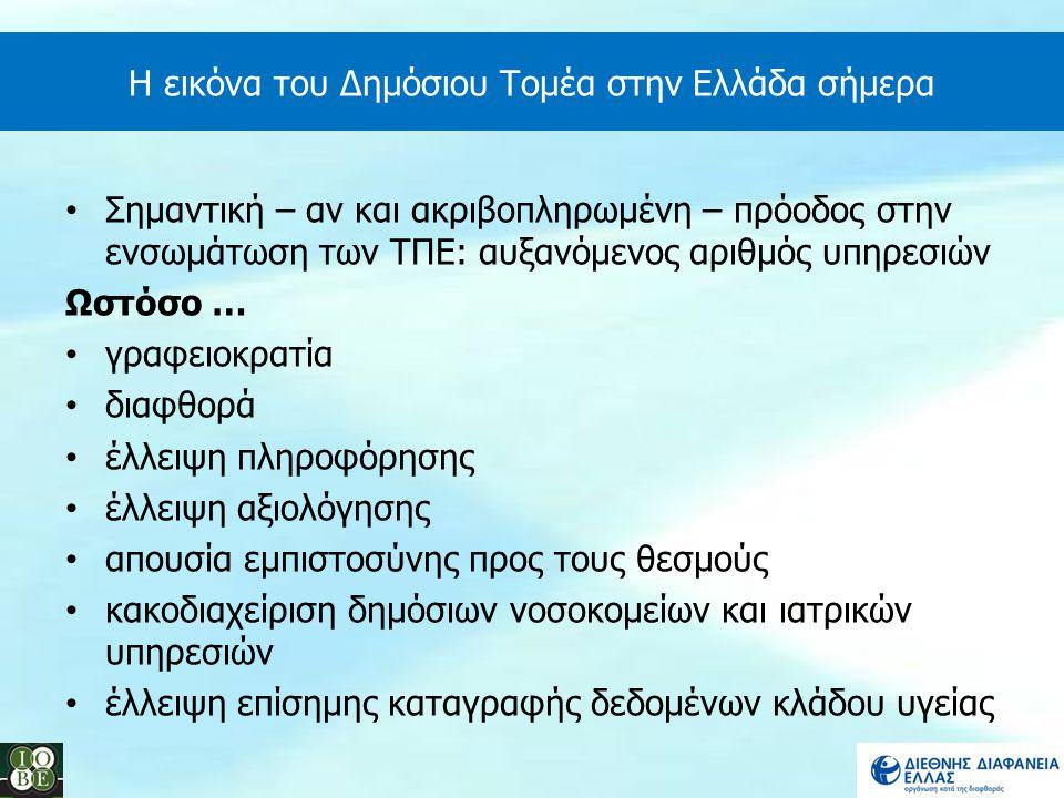 Η εικόνα του Δημόσιου Τομέα στην Ελλάδα σήμερα Σημαντική – αν και ακριβοπληρωμένη – πρόοδος στην ενσωμάτωση των ΤΠΕ: αυξανόμενος αριθμός υπηρεσιών Ωστ