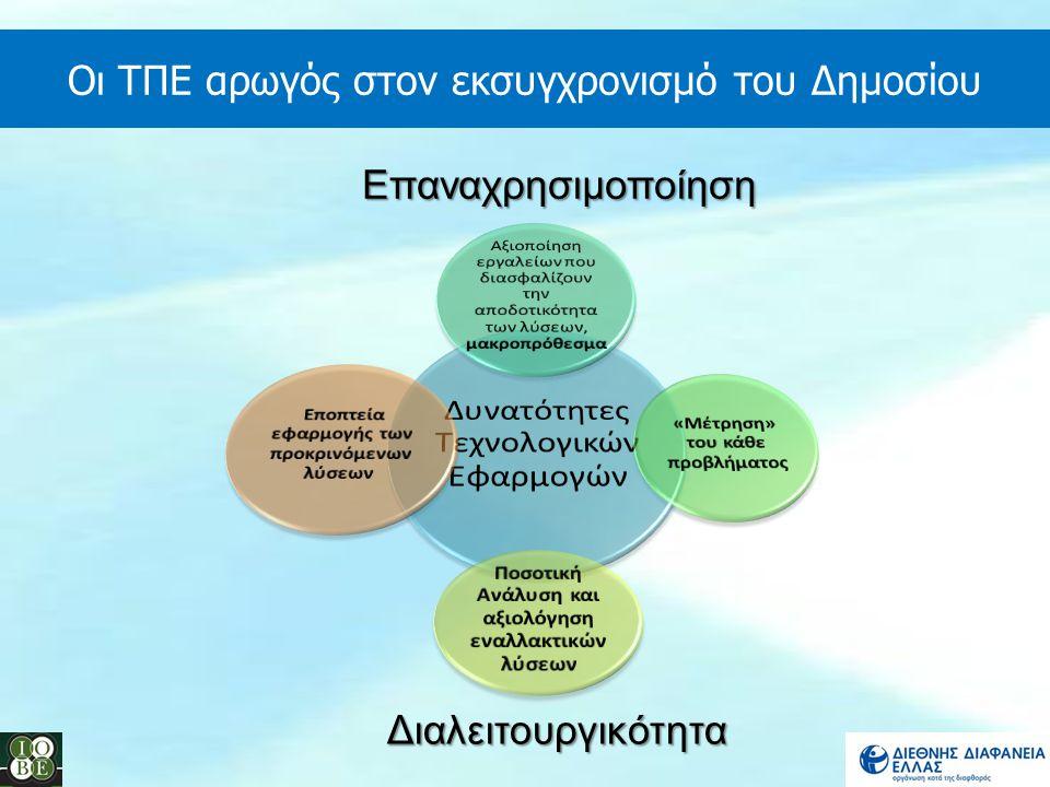 Οι ΤΠΕ αρωγός στον εκσυγχρονισμό του Δημοσίου Διαλειτουργικότητα Επαναχρησιμοποίηση