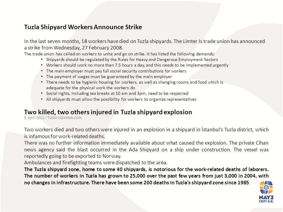 Tuzla Shipyard Workers Announce Strike In the last seven months, 18 workers have died on Tuzla shipyards.