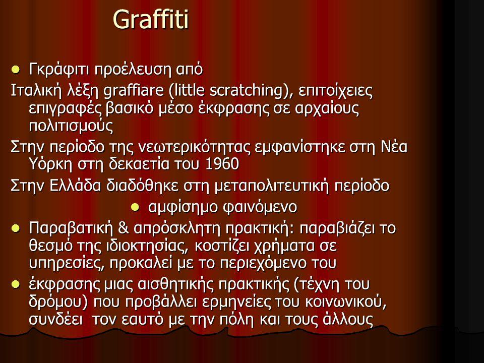 Graffiti Το γκράφιτι ως «συμβολικός καθρέπτης» & επικοινωνιακό εργαλείο μέσα στην πόλης έχει απασχολήσει τους κοινωνικούς επιστήμονες: Το γκράφιτι ως «συμβολικός καθρέπτης» & επικοινωνιακό εργαλείο μέσα στην πόλης έχει απασχολήσει τους κοινωνικούς επιστήμονες: συνδέεται με επιθυμίες, συναισθηματικές καταστάσεις, οράματα, κοινωνικά κινήματα και πολιτισμικά ρεύματα- αποκαλύπτει τύπους συμπεριφοράς, στάσεις και κοινωνικές διαδικασίες ομάδων & πολιτισμικών ετεροτήτων στην πόλη συνδέεται με επιθυμίες, συναισθηματικές καταστάσεις, οράματα, κοινωνικά κινήματα και πολιτισμικά ρεύματα- αποκαλύπτει τύπους συμπεριφοράς, στάσεις και κοινωνικές διαδικασίες ομάδων & πολιτισμικών ετεροτήτων στην πόλη Συνδέει σώματα στο χώρο, αποκαλύπτει εκφράσεις εσωτερικών καταστάσεων κοινωνικούς σχολιασμούς, συμβολικές γεωγραφίες, αντιθέσεις και διακρίσεις στο αστικό τοπίο: σεξουαλικές τάσεις, τύπους τέχνης, έμφυλες σχέσεις, νεανικές συμπεριφορές, οπαδικές αντιπαραθέσεις Συνδέει σώματα στο χώρο, αποκαλύπτει εκφράσεις εσωτερικών καταστάσεων κοινωνικούς σχολιασμούς, συμβολικές γεωγραφίες, αντιθέσεις και διακρίσεις στο αστικό τοπίο: σεξουαλικές τάσεις, τύπους τέχνης, έμφυλες σχέσεις, νεανικές συμπεριφορές, οπαδικές αντιπαραθέσεις Διάλογο για την τέχνη, το καλό, υπαρξιακές αναζητήσεις, ουτοπικές καταστάσεις και βιωματικές εμπειρίες Διάλογο για την τέχνη, το καλό, υπαρξιακές αναζητήσεις, ουτοπικές καταστάσεις και βιωματικές εμπειρίες H δράση της δημιουργίας graffiti σε δημόσιους χώρους είναι ένα φαινόμενο συνδεδεμένο κυρίως με συμμετέχοντες από χαμηλά κοινωνικοοικονομικό στάτους και την ανάγκη τους να εκφράσουν το δικό τους χώρο και ταυτότητα σε μια κοινωνία.