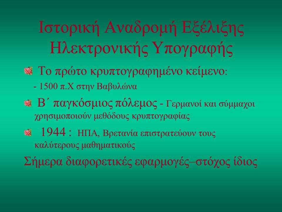 Ιστορική Αναδρομή Εξέλιξης Ηλεκτρονικής Υπογραφής Το πρώτο κρυπτογραφημένο κείμενο : - 1500 π.Χ στην Βαβυλώνα Β΄ παγκόσμιος πόλεμος - Γερμανοί και σύμ