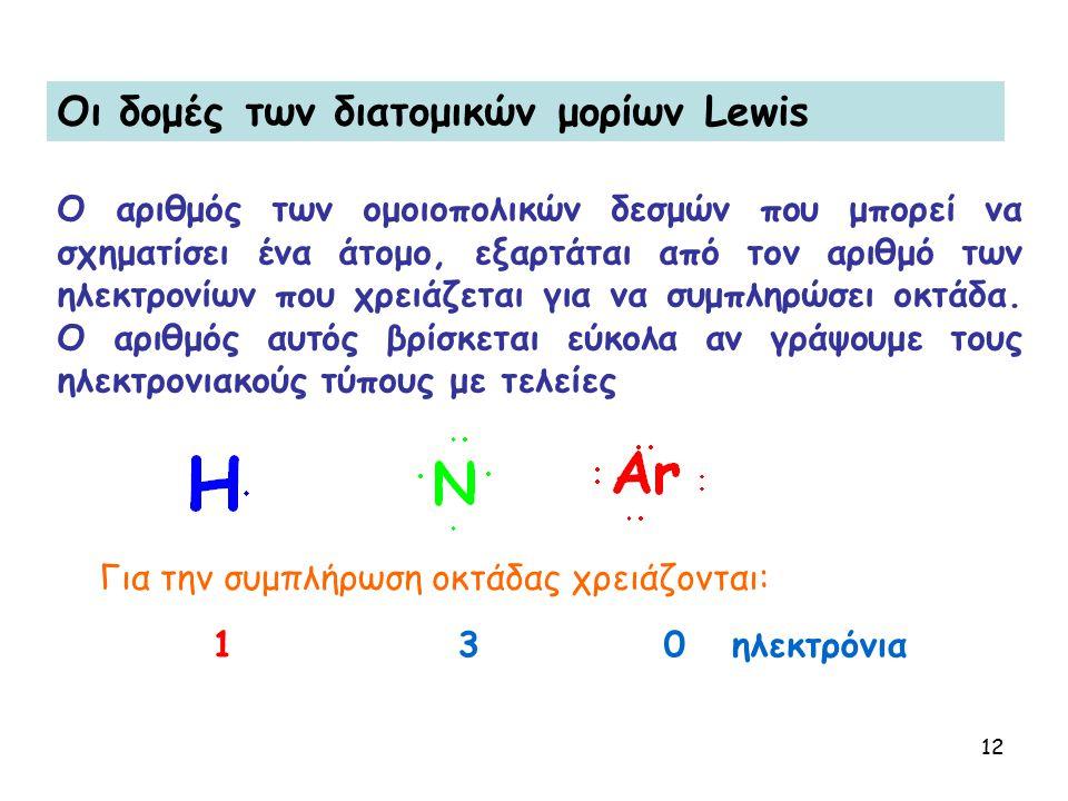 12 Oι δομές των διατομικών μορίων Lewis O αριθμός των ομοιοπολικών δεσμών που μπορεί να σχηματίσει ένα άτομο, εξαρτάται από τον αριθμό των ηλεκτρονίων