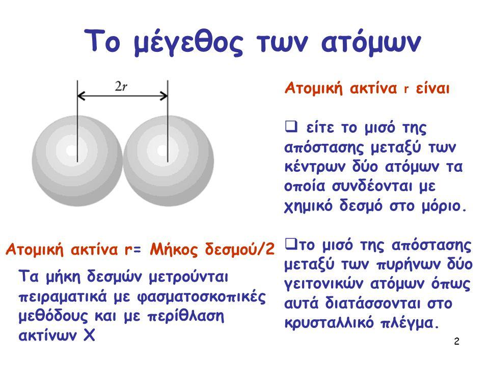 2 Το μέγεθος των ατόμων Ατομική ακτίνα r= Μήκος δεσμού/2 Ατομική ακτίνα r είναι  είτε το μισό της απόστασης μεταξύ των κέντρων δύο ατόμων τα οποία συ