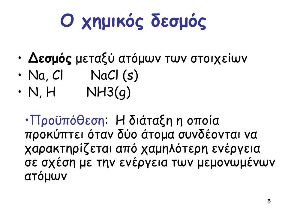 5 Δεσμός μεταξύ ατόμων των στοιχείων Na, Cl NaCl (s) N, H NH3(g) Προϋπόθεση: Η διάταξη η οποία προκύπτει όταν δύο άτομα συνδέονται να χαρακτηρίζεται α