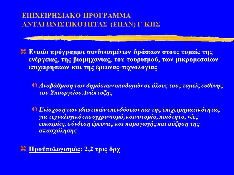 ΕΠΙΧΕΙΡΗΣΙΑΚΟ ΠΡΟΓΡΑΜΜΑ ΑΝΤΑΓΩΝΙΣΤΙΚΟΤΗΤΑΣ (ΕΠΑΝ) Γ΄ΚΠΣ  Ενιαίο πρόγραμμα συνδυασμένων δράσεων στους τομείς της ενέργειας, της βιομηχανίας, του τουρι