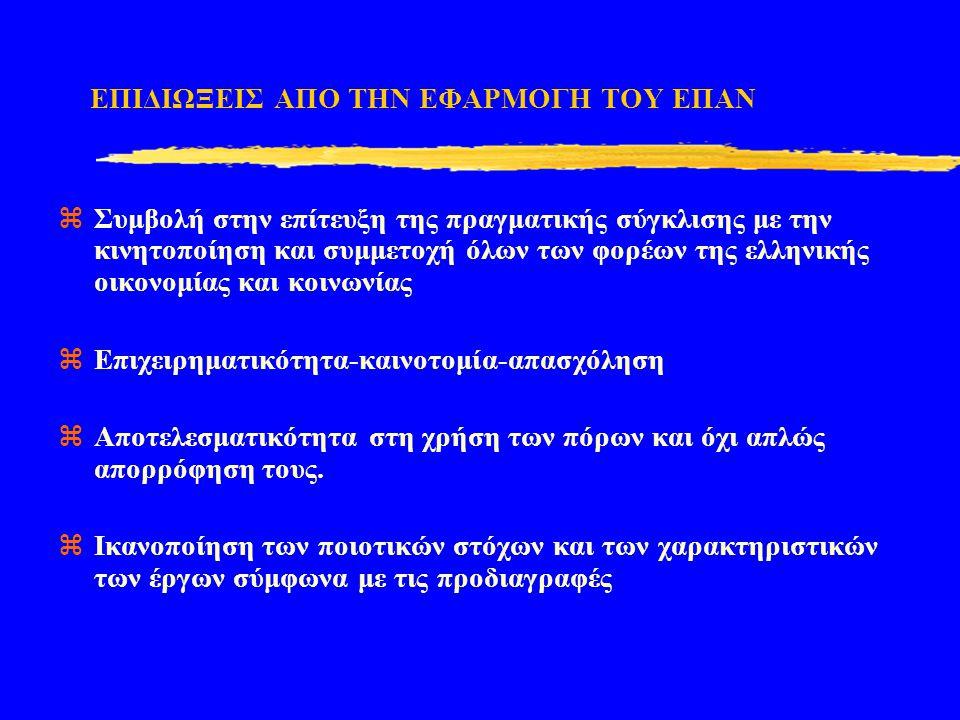 ΕΠΙΔΙΩΞΕΙΣ ΑΠΟ ΤΗΝ ΕΦΑΡΜΟΓΗ ΤΟΥ ΕΠΑΝ  Συμβολή στην επίτευξη της πραγματικής σύγκλισης με την κινητοποίηση και συμμετοχή όλων των φορέων της ελληνικής