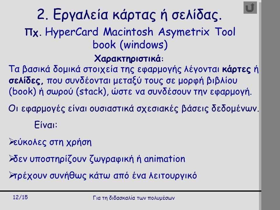 Για τη διδασκαλία των πολυμέσων 12/15 2. Εργαλεία κάρτας ή σελίδας.