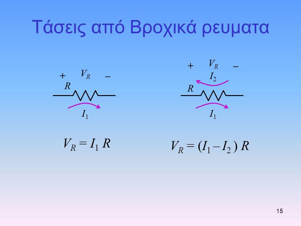 15 Τάσεις από Βροχικά ρευματα R I1I1 +– VRVR V R = I 1 R R I1I1 +– VRVR I2I2 V R = (I 1 – I 2 ) R