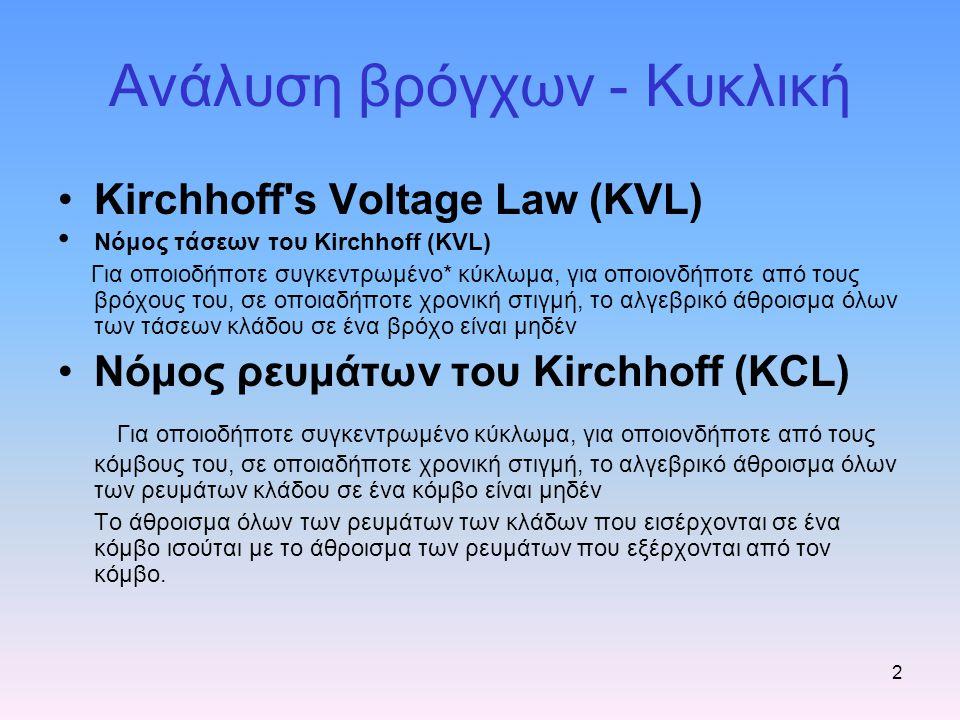 Ανάλυση βρόγχων - Κυκλική Kirchhoff's Voltage Law (KVL) Νόμος τάσεων του Kirchhoff (KVL) Για οποιοδήποτε συγκεντρωμένο* κύκλωμα, για οποιονδήποτε από
