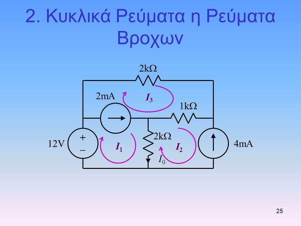 25 2. Κυκλικά Ρεύματα η Ρεύματα Βροχων I1I1 I2I2 I3I3 1k  2k  12V4mA 2mA I0I0 +–+–