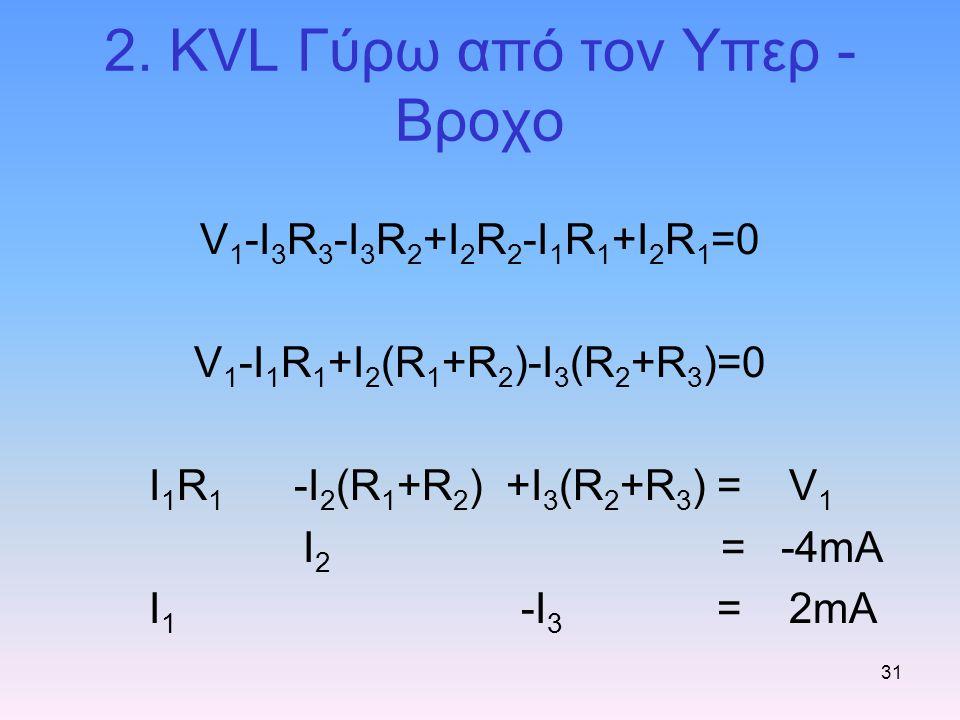 31 2. KVL Γύρω από τον Υπερ - Βροχο V 1 -I 3 R 3 -I 3 R 2 +I 2 R 2 -I 1 R 1 +I 2 R 1 =0 V 1 -I 1 R 1 +I 2 (R 1 +R 2 )-I 3 (R 2 +R 3 )=0 I 1 R 1 -I 2 (