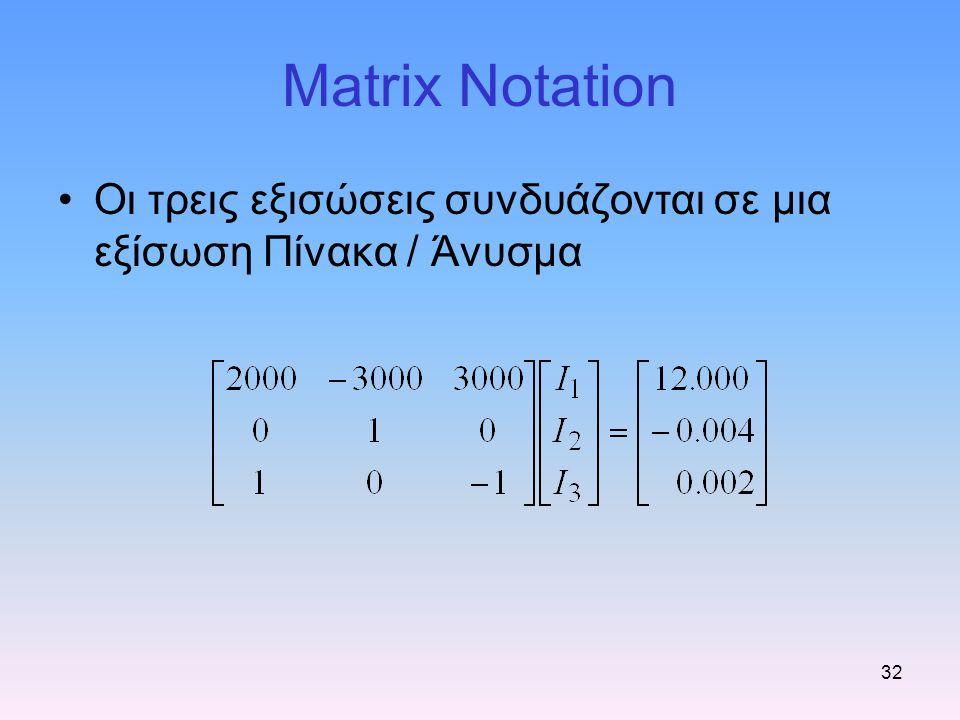 32 Matrix Notation Οι τρεις εξισώσεις συνδυάζονται σε μια εξίσωση Πίνακα / Άνυσμα