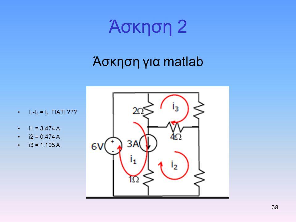 38 Άσκηση 2 Άσκηση για matlab I 1 -I 2 = I s ΓΙΑΤΙ ??? i1 = 3.474 A i2 = 0.474 A i3 = 1.105 A
