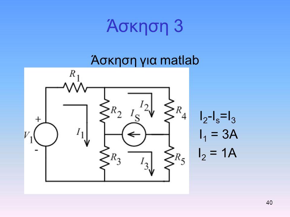 40 Άσκηση 3 Άσκηση για matlab I 2 -I s =I 3 I 1 = 3A I 2 = 1A