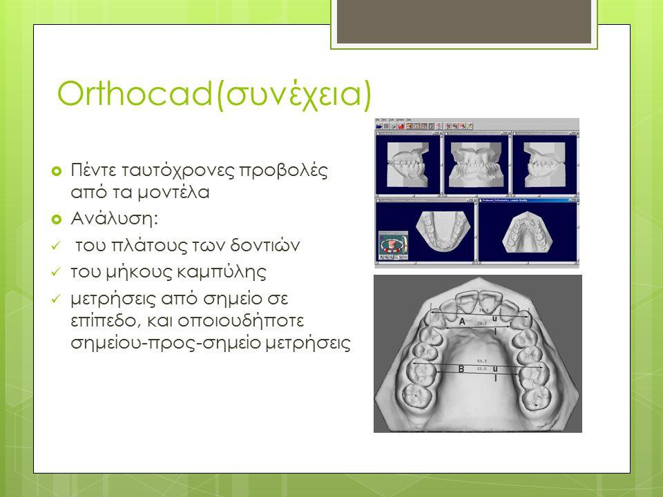 Orthocad(συνέχεια)  Πέντε ταυτόχρονες προβολές από τα μοντέλα  Ανάλυση: του πλάτους των δοντιών του μήκους καμπύλης μετρήσεις από σημείο σε επίπεδο,