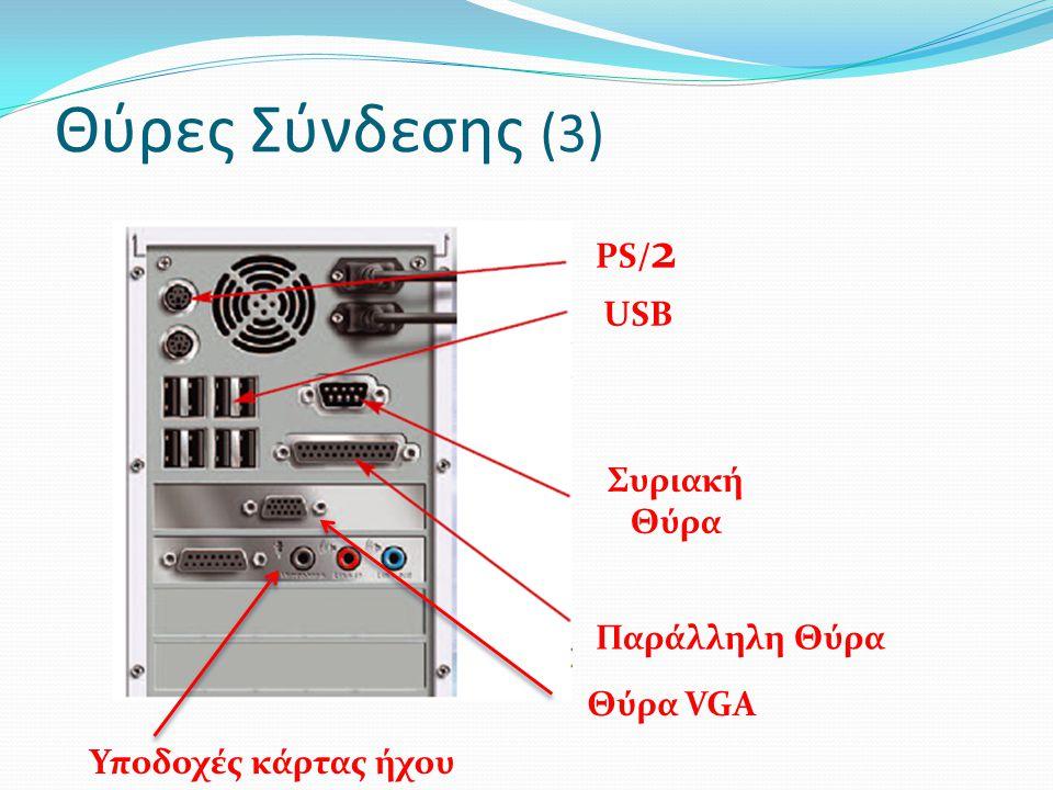 Θύρες Σύνδεσης (3) PS/ 2 USB Συριακή Θύρα Παράλληλη Θύρα Θύρα VGA Υποδοχές κάρτας ήχου