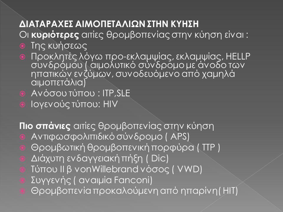 ΔΙΑΤΑΡΑΧΕΣ ΑΙΜΟΠΕΤΑΛΙΩΝ ΣΤΗΝ ΚΥΗΣΗ Οι κυριότερες αιτίες θρομβοπενίας στην κύηση είναι :  Της κυήσεως  Προκλητές λόγω προ-εκλαμψίας, εκλαμψίας, HELLP