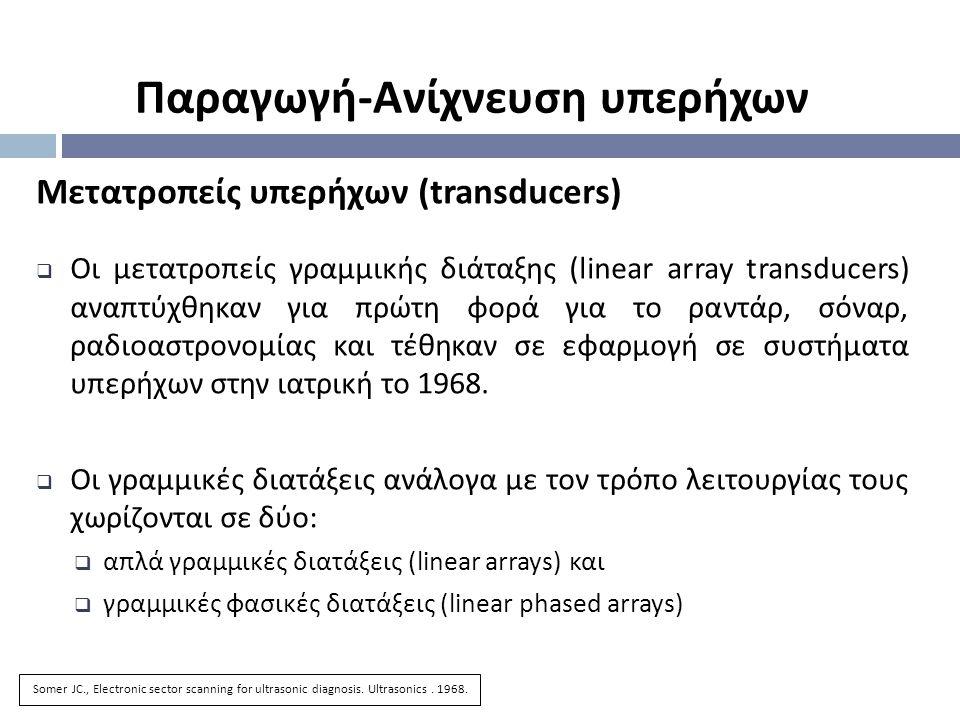 Μετατροπείς υπερήχων (transducers)  Οι μετατροπείς γραμμικής διάταξης (linear array transducers) αναπτύχθηκαν για πρώτη φορά για το ραντάρ, σόναρ, ρα
