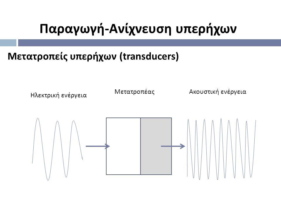 Μετατροπείς υπερήχων (transducers) Παραγωγή - Ανίχνευση υπερήχων Ηλεκτρική ενέργεια ΜετατροπέαςΑκουστική ενέργεια