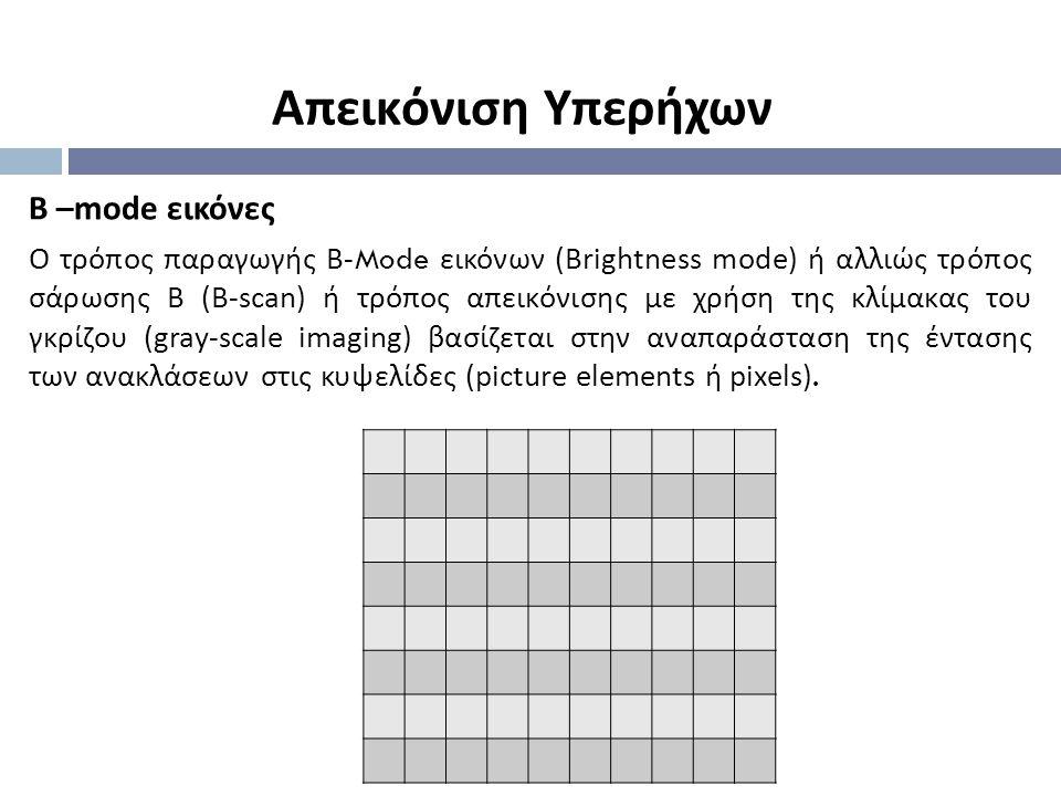 Β –mode εικόνες Ο τρόπος παραγωγής Β -Mode εικόνων (Brightness mode) ή αλλιώς τρόπος σάρωσης Β (B-scan) ή τρόπος απεικόνισης με χρήση της κλίμακας του