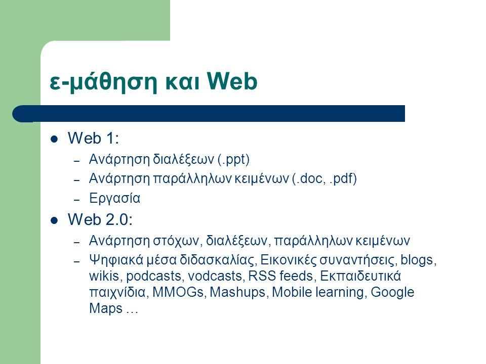 ε-μάθηση και Web Web 1: – Ανάρτηση διαλέξεων (.ppt) – Ανάρτηση παράλληλων κειμένων (.doc,.pdf) – Εργασία Web 2.0: – Ανάρτηση στόχων, διαλέξεων, παράλληλων κειμένων – Ψηφιακά μέσα διδασκαλίας, Εικονικές συναντήσεις, blogs, wikis, podcasts, vodcasts, RSS feeds, Εκπαιδευτικά παιχνίδια, MMOGs, Mashups, Mobile learning, Google Maps …
