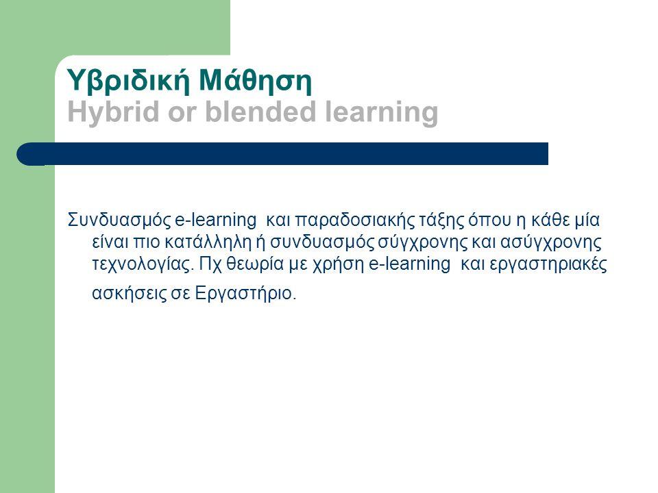 Υβριδική Μάθηση Hybrid or blended learning Συνδυασμός e-learning και παραδοσιακής τάξης όπου η κάθε μία είναι πιο κατάλληλη ή συνδυασμός σύγχρονης και ασύγχρονης τεχνολογίας.